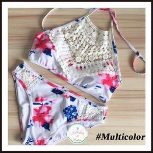 Crochet Halter Top High Waist Floral Bikini Set